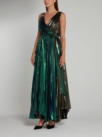 Metallic Accordion Pleat Maxi Dress