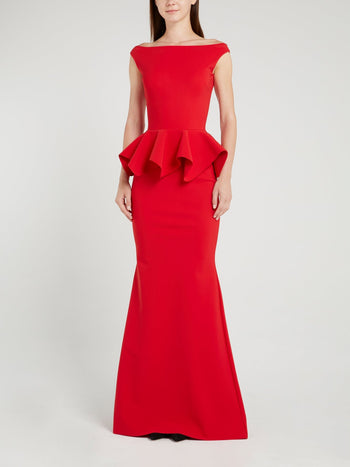 Eden Red Peplum Maxi Dress