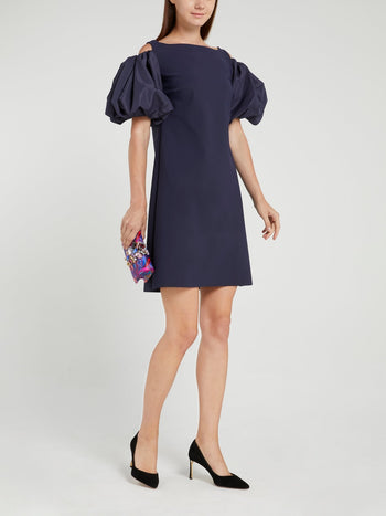 Isla Taf Navy Flounce Sleeve Mini Dress