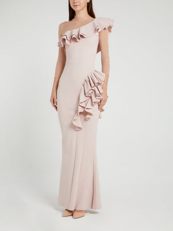 Maria Chiara Illusion Beige Ruffle Maxi Dress