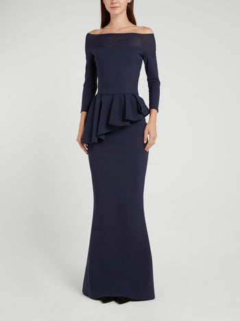 Nabelle Illusion Navy Off-The-Shoulder Maxi Dress