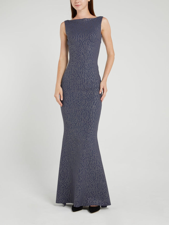 Race Navy Bateau Neckline Maxi Dress