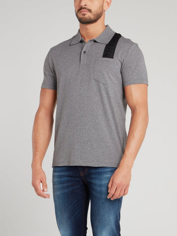 Grey Logo Strap Polo Shirt