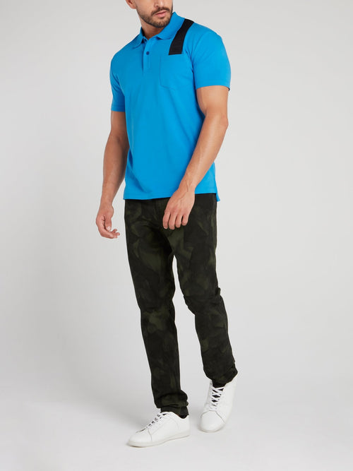 Blue Logo Strap Polo Shirt