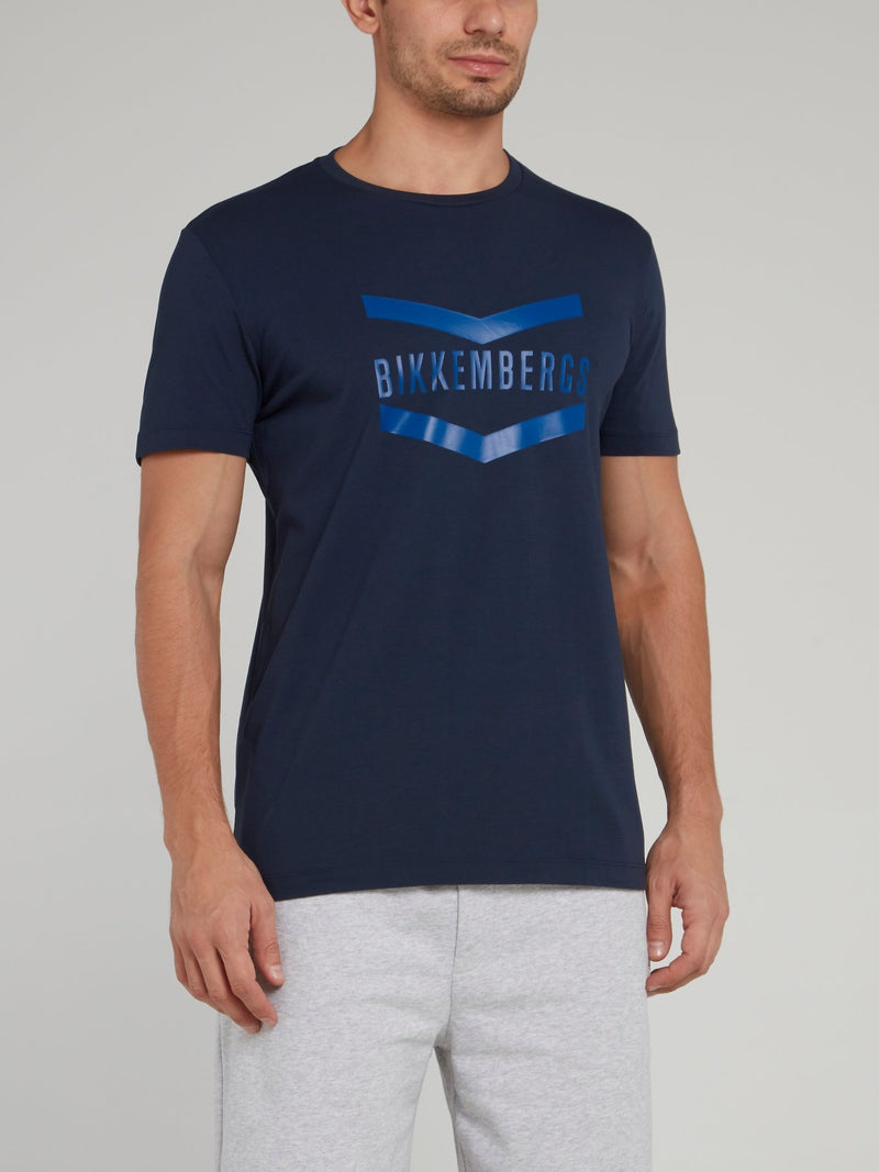 Navy Logo Chevron T-Shirt