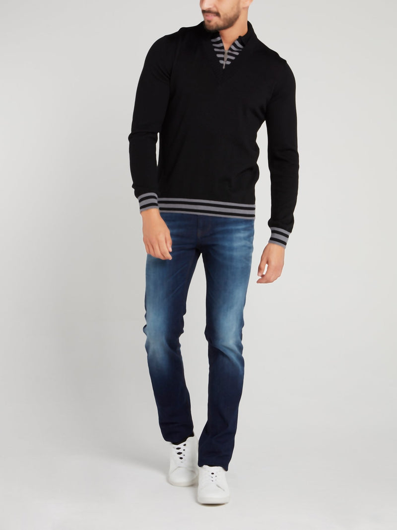 Black Stripe Edge Zip Neck Sweater