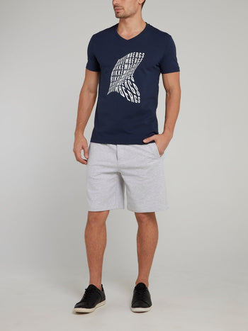 Navy Statement V-Neck T-Shirt