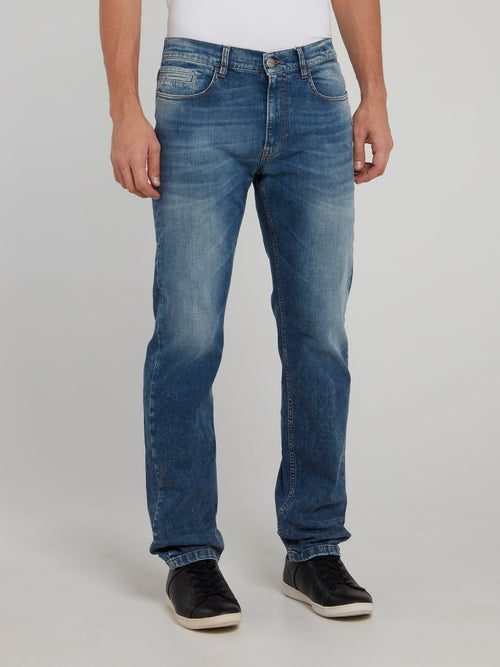 Blue Straight Cut Denim Pants