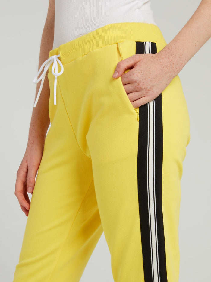 Yellow Drawstring Side Stripe Sweatpants