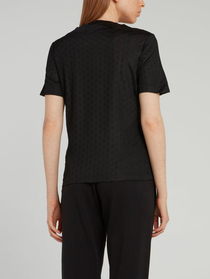 Black Perforated Panel T-Shirt
