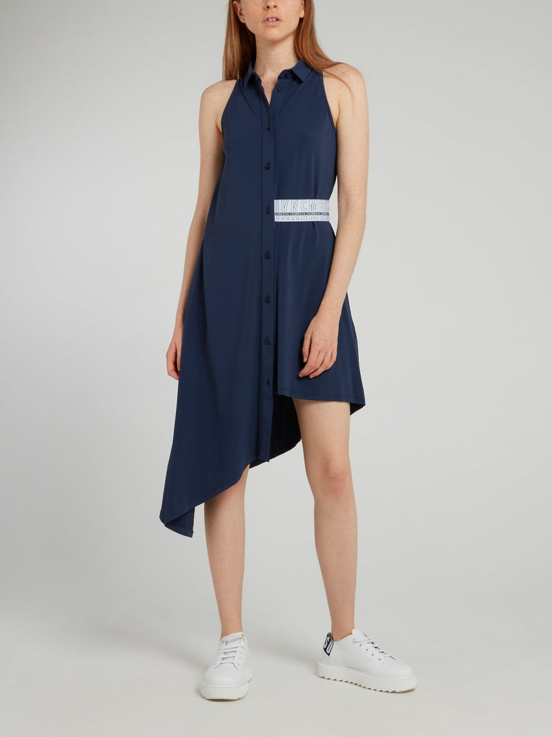 Navy Asymmetric Shirt Dress