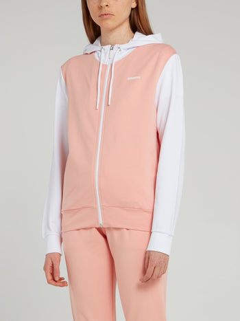 Pink Colour Block Sweat Jacket