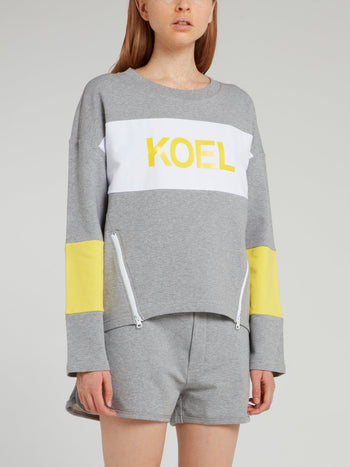 Grey Colour Block Zipper Detail Sweatshirt