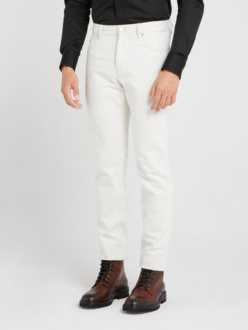 White Slim Fit Woven Trousers