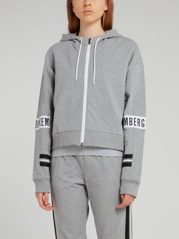 Grey Logo Sleeve Sweat Jacket