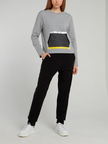 Grey Taped Mesh Pocket Sweatshirt