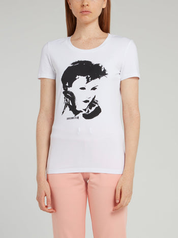 White Portrait Print T-Shirt