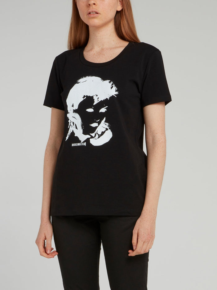 Black Portrait Print T-Shirt