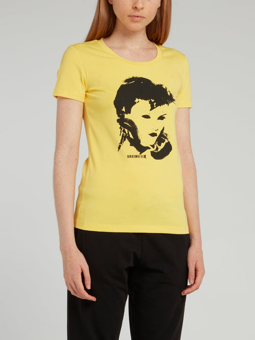 Yellow Portrait Print T-Shirt