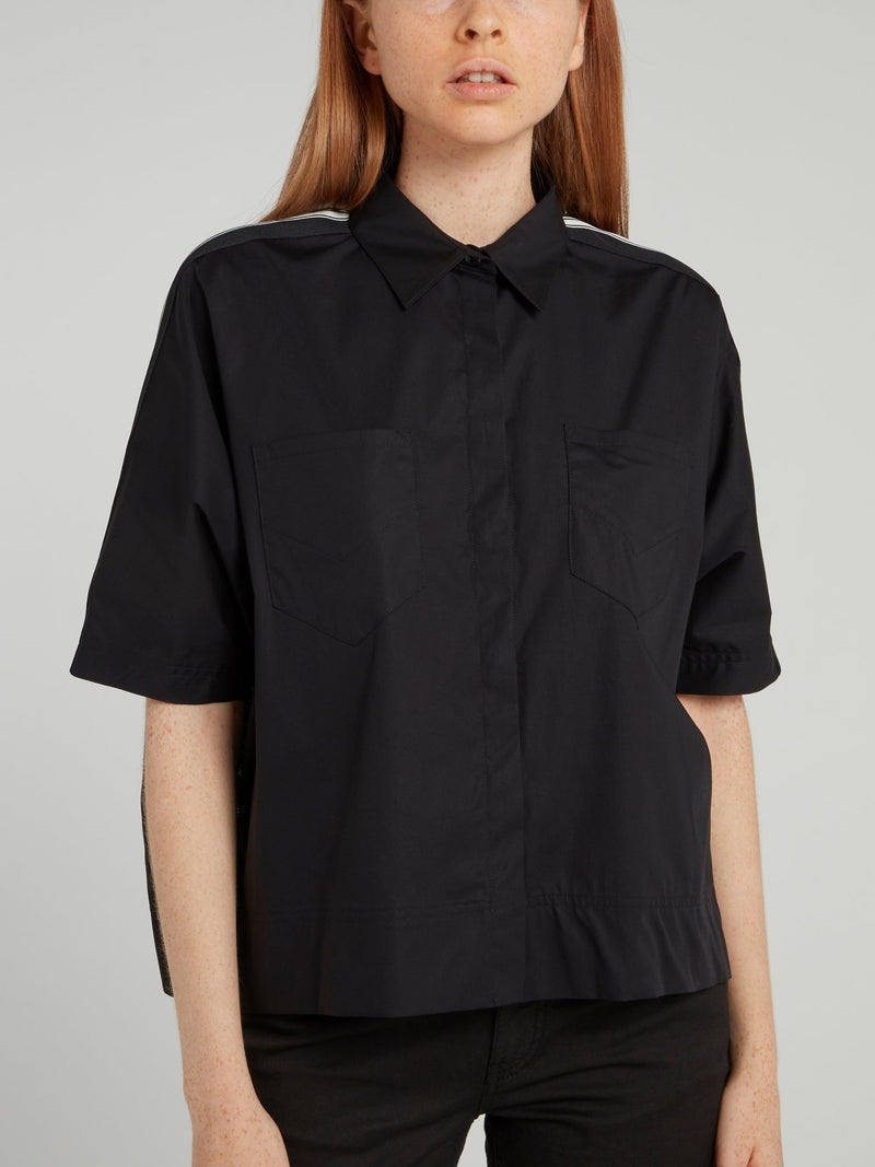 Black Shoulder Stripe Half Sleeve Shirt