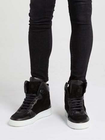 Black High Top Monogram Sneakers