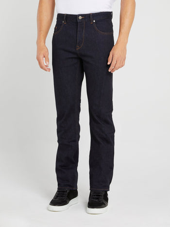 Dark Wash Straight Cut Trousers