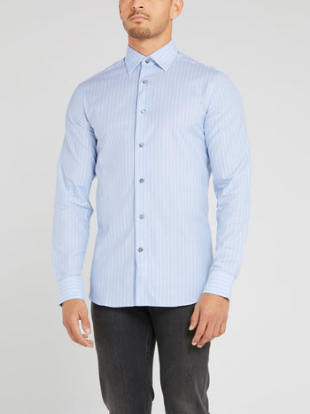 Light Blue Striped Long Sleeve Shirt