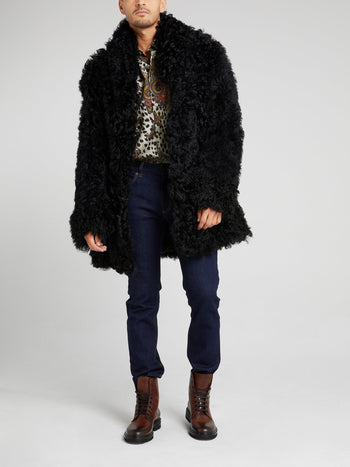 Black Oversized Fur Jacket