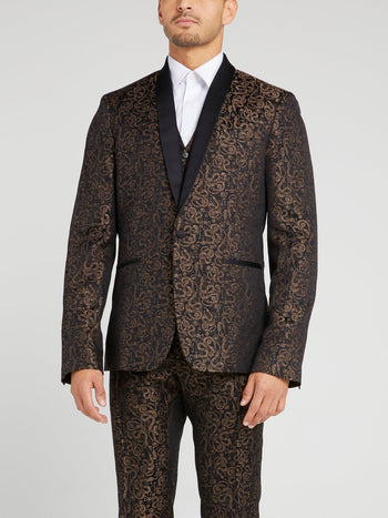 Snake Print One-Button Blazer