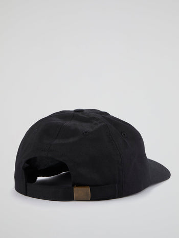 Black Embroidered Logo Cap