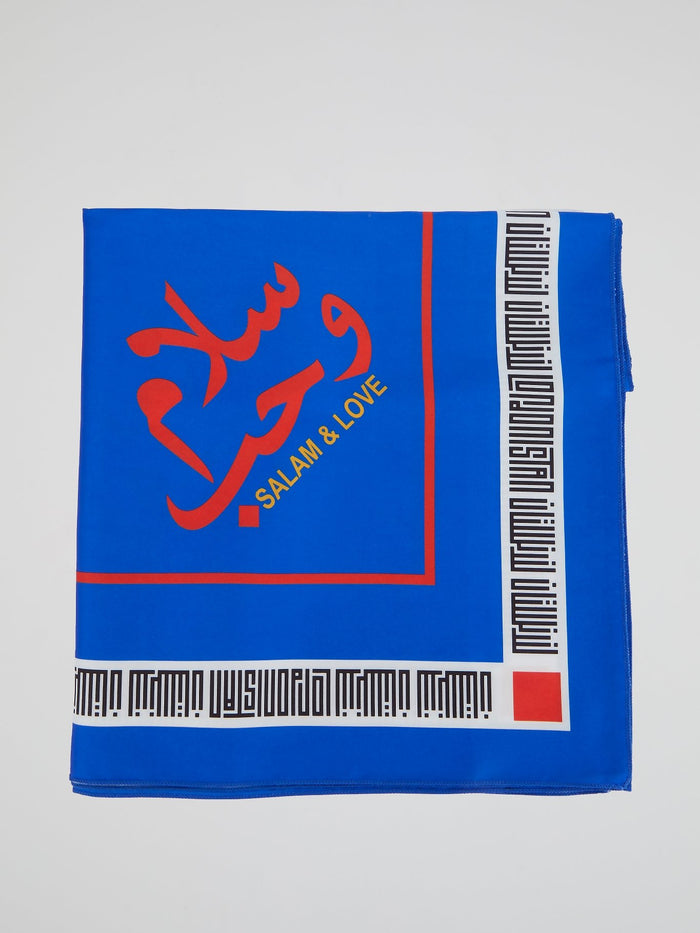 Blue Logo Trim Scarf