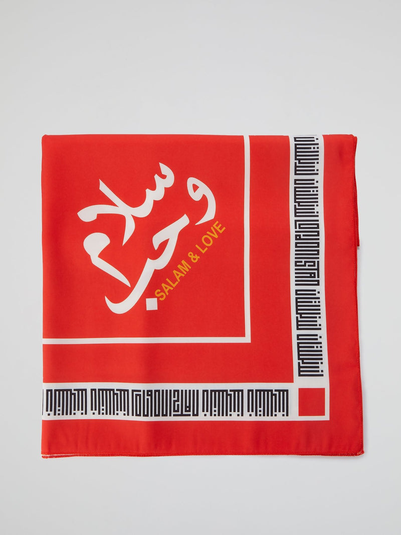 Orange Logo Trim Scarf