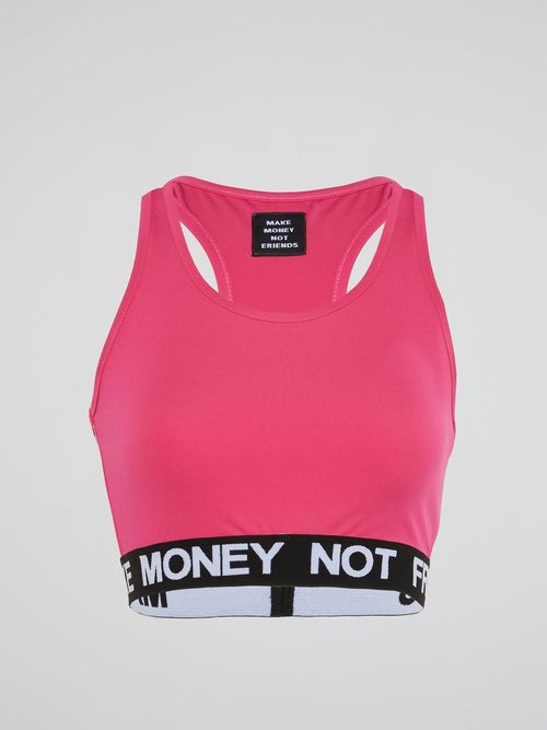 Pink Logo Trim Cropped Top