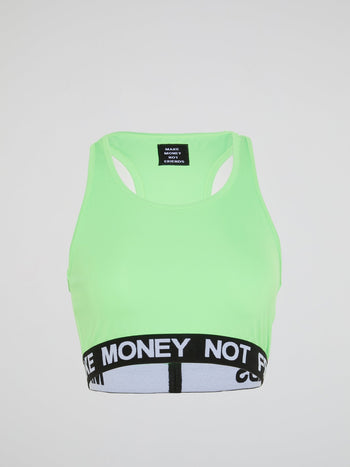 Green Logo Trim Cropped Top