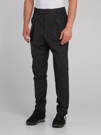 Black Pleated Tapered Trousers
