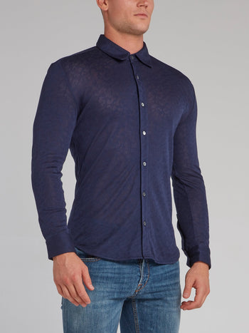Navy Knitted Button Up Shirt
