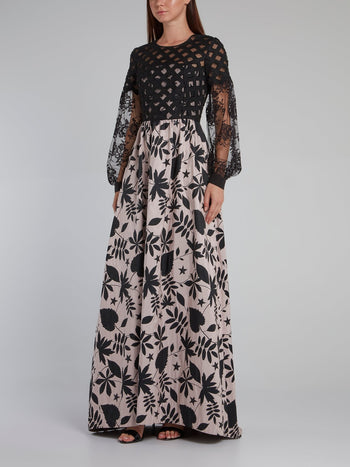 Leaf Print Mesh Sleeve Maxi Dress