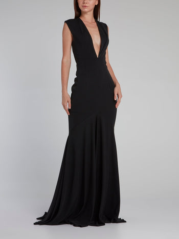 Black Rear Sequin Plunge Gown