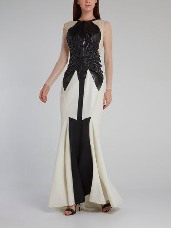 White Contrast Mesh Bodice Gown