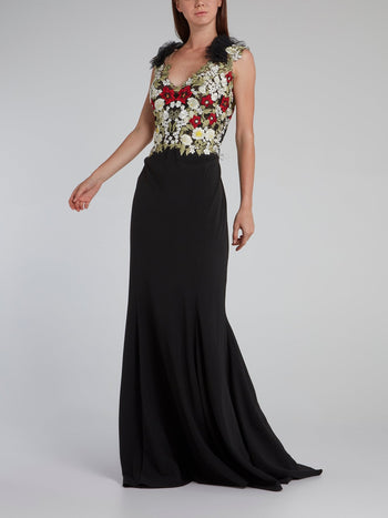 Black Floral Embroidered Bodice Gown