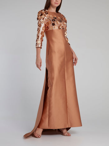 Bronze Beadwork Rear Zip Maxi Dress