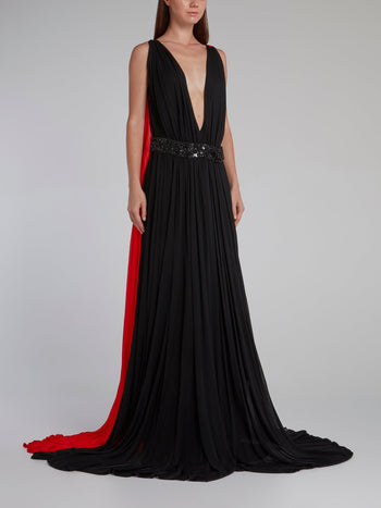 Two Tone Plunging Cape Gown