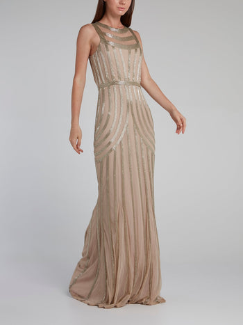 Brown Beaded Column Maxi Dress