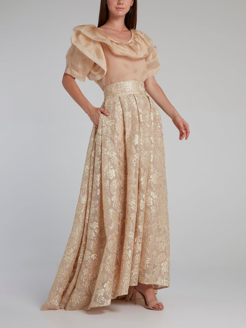 Beige Paisley Top and Skirt Co-Ord Set