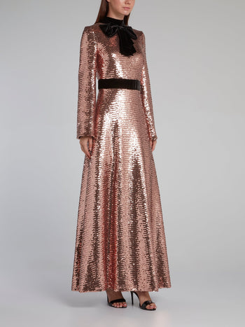 Metallic Bow Tie Sequin Maxi Dress
