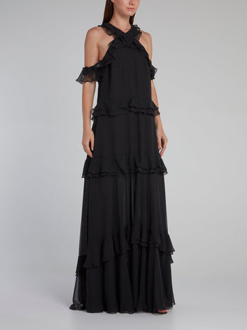 Black Drop Shoulder Tiered Ruffle Dress
