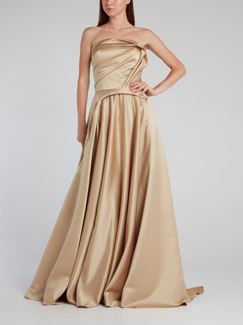 Gold Sculpted Mikado Gown