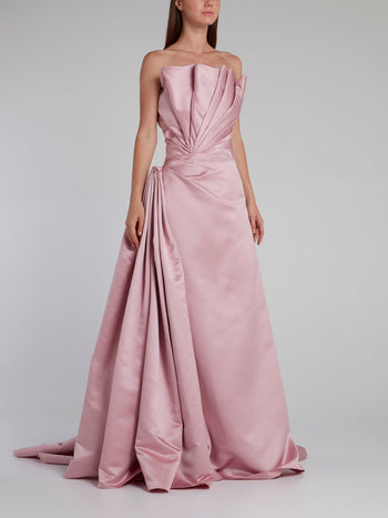 Pink Pleat Detail Mikado Gown