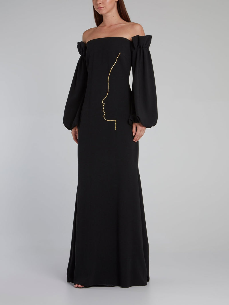 Jefferson Black Off-The-Shoulder Gown