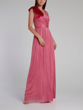 Pink Rose Detail Bustier Maxi Dress